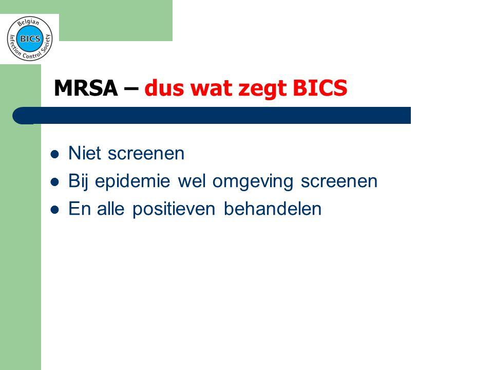 MRSA – bedenkingen bij BICS  Paradox – Bij ≥3 MRSA's moet je omgeving screenen – Hoe ontdek je een epidemie als je niet screent?