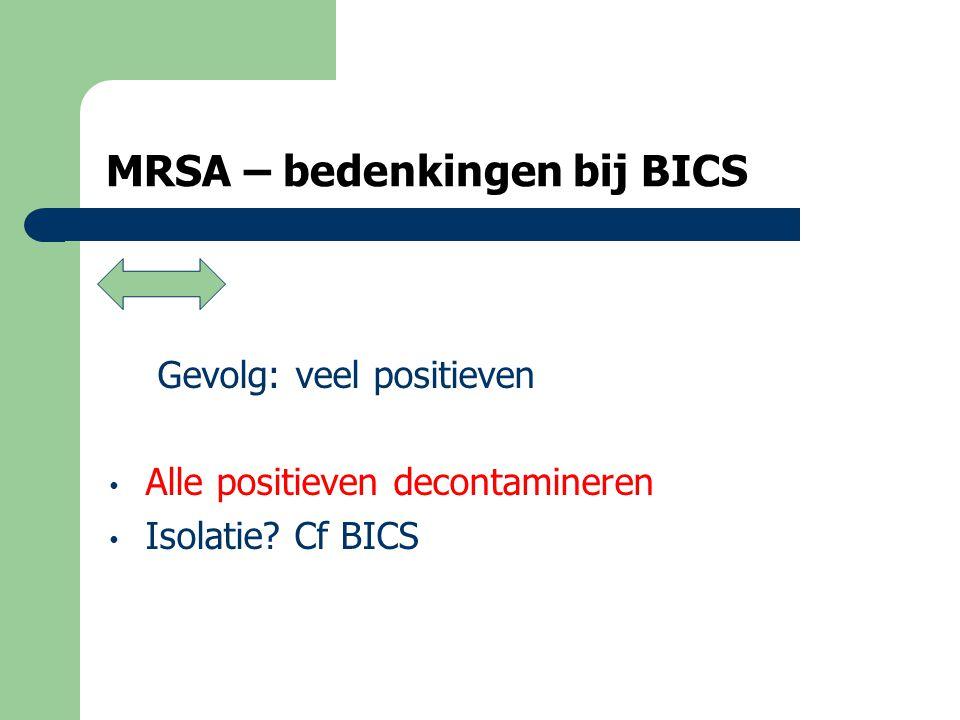 MRSA – nog eens de screening • Alle positieven decontamineren