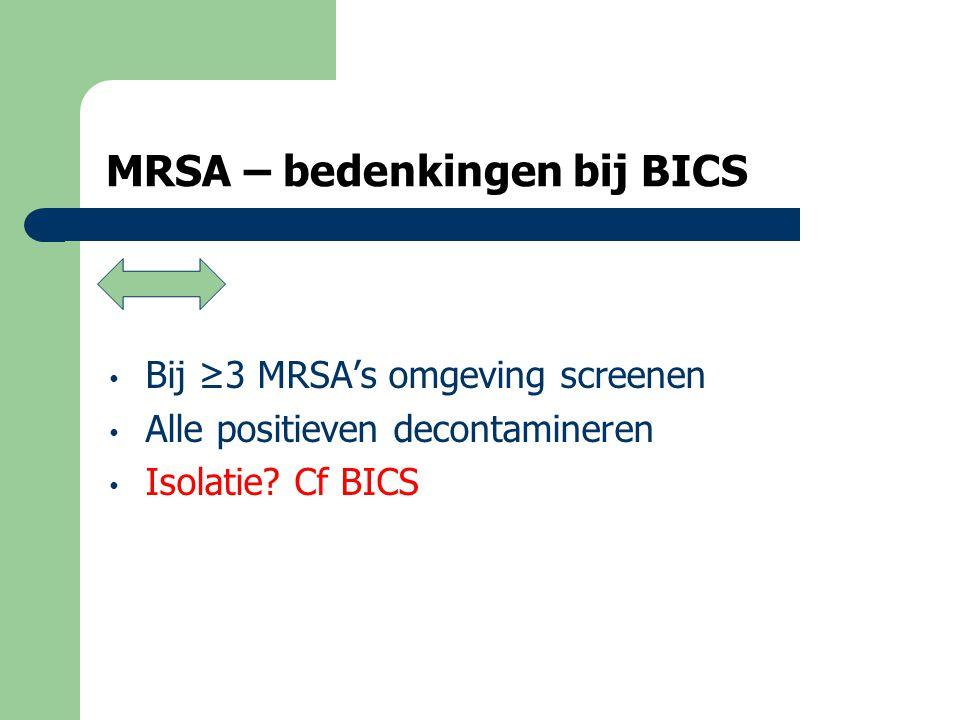 MRSA isolatie – kwistige verspreiders  kwistige verspreiders zijn mobiele bejaarden met MRSA in de urine die bvb in de gang of op andere kamers plassen of bewoners met MRSA in het sputum die smeren…  Men haalt vaak de moeilijk afdekbare wonden aan maar een wonde is steeds afdekbaar behalve bij bejaarden die los prutsen  Isoleren…