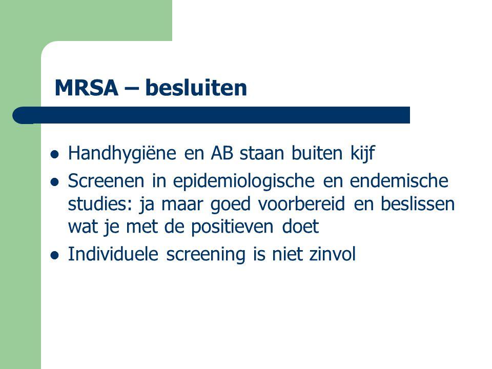 MRSA – besluiten  Maar als je het tóch doet = search – vooral bij sondes en decubitus – indien ≥3 MRSA's dan omgeving screenen  Alle positieven decontamineren destroy cf Draaiboek