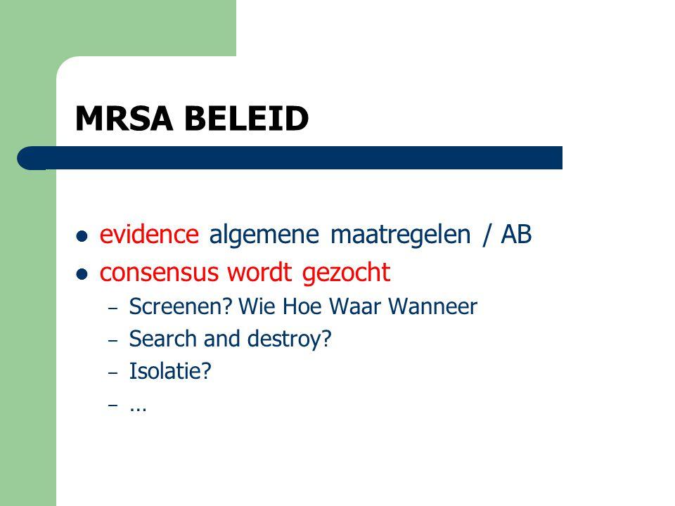 MRSA BELEID Evidence:  algemene maatregelen  AB – Geen AB ter preventie UWI of bij asymptomatische bacteriurie – Quinolones zeer beperken – LLWI richt je op de pneumococ