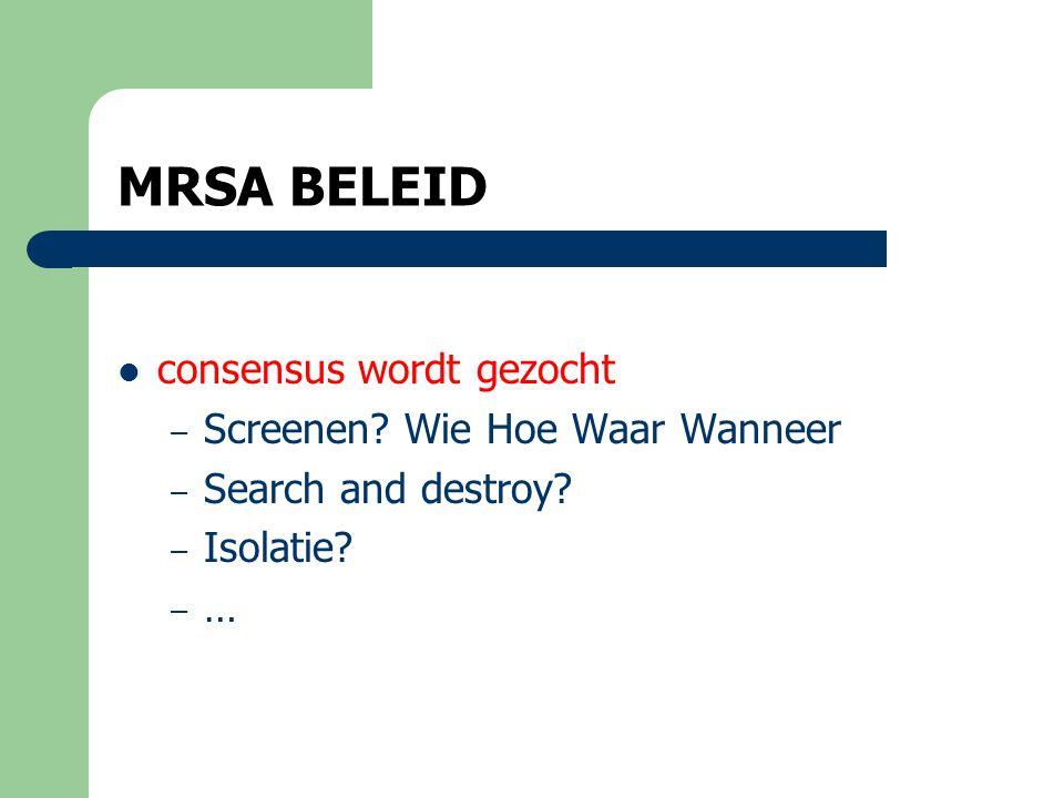 MRSA BELEID  in RVT's: overal ander beleid  Consensus zoeken: bewust zijnde van low level of evidence