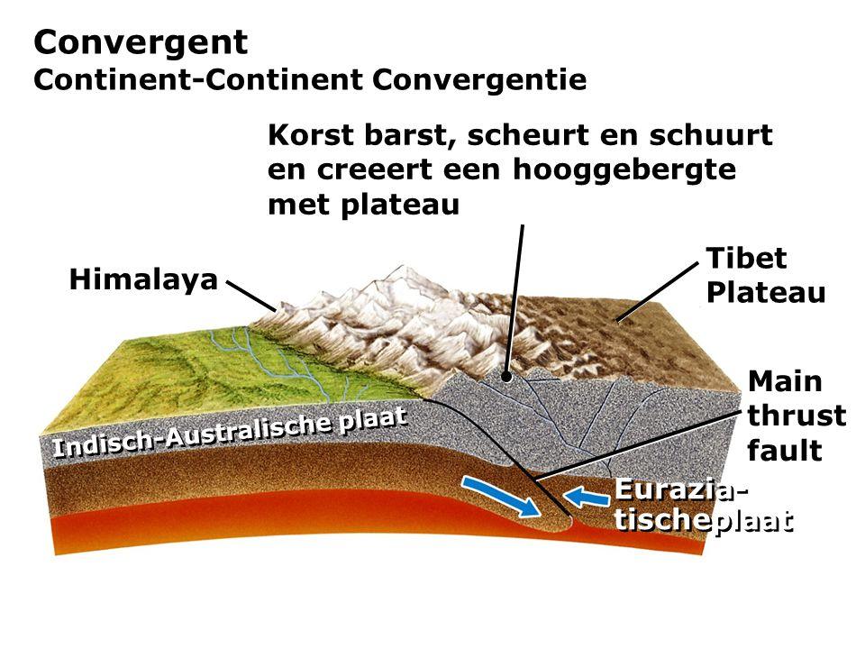 Convergent Continent-Continent Convergentie Himalaya Main thrust fault Tibet Plateau Indisch-Australische plaat Eurazia- tischeplaat Korst barst, sche