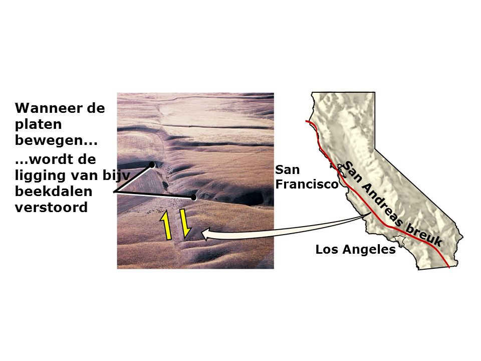 Wanneer de platen bewegen... …wordt de ligging van bijv. beekdalen verstoord San Francisco Los Angeles San Andreas breuk