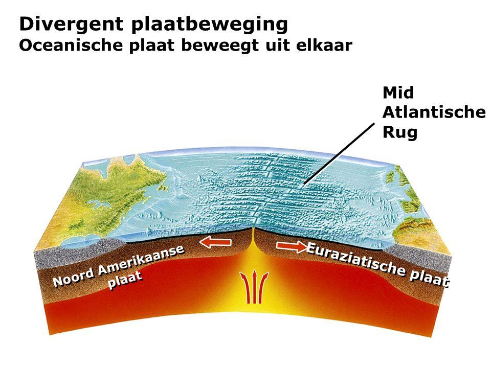 Divergent plaatbeweging Oceanische plaat beweegt uit elkaar Mid Atlantische Rug Noord Amerikaanse plaat Noord Amerikaanse plaat Euraziatische plaat