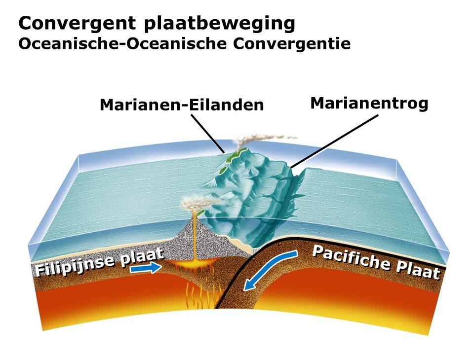 Convergent plaatbeweging Oceanische-Oceanische Convergentie Marianen-Eilanden Marianentrog Pacifiche Plaat Filipijnse plaat
