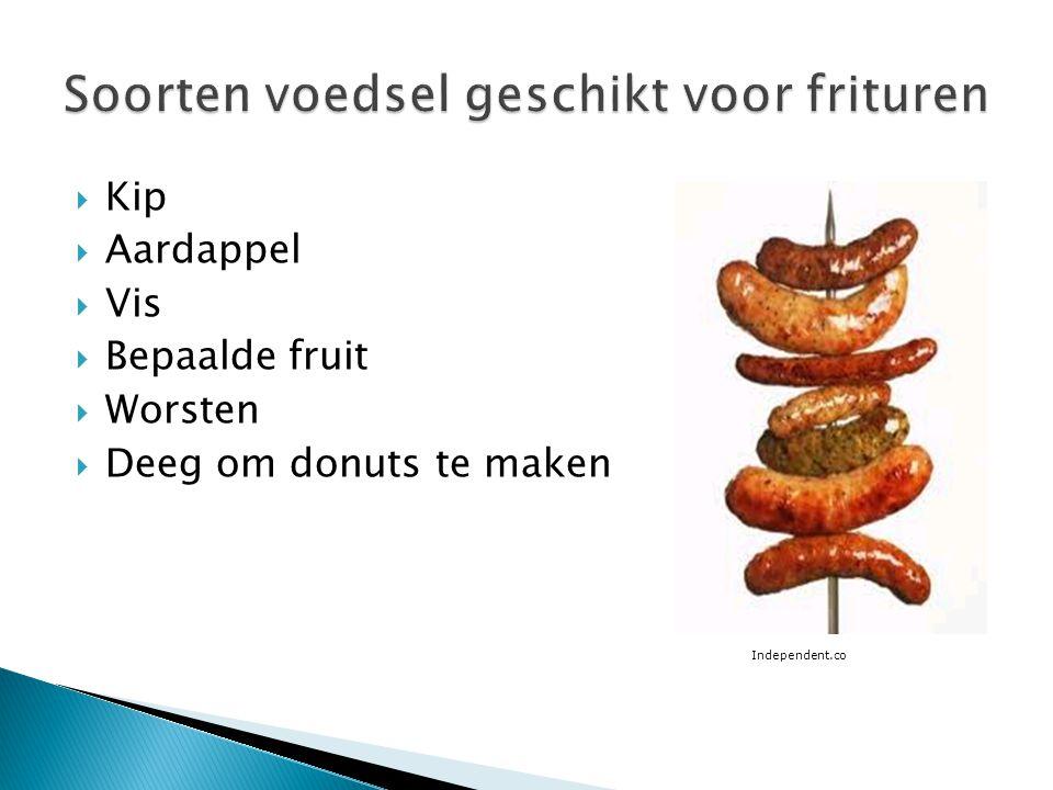  Kip  Aardappel  Vis  Bepaalde fruit  Worsten  Deeg om donuts te maken Independent.co