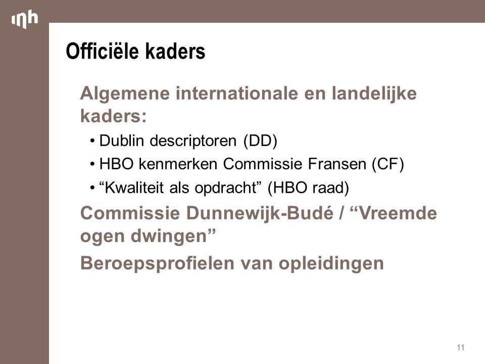 Officiële kaders Algemene internationale en landelijke kaders: •Dublin descriptoren (DD) •HBO kenmerken Commissie Fransen (CF) • Kwaliteit als opdracht (HBO raad) Commissie Dunnewijk-Budé / Vreemde ogen dwingen Beroepsprofielen van opleidingen 11