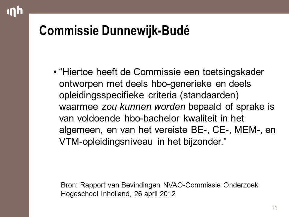 Commissie Dunnewijk-Budé • Hiertoe heeft de Commissie een toetsingskader ontworpen met deels hbo-generieke en deels opleidingsspecifieke criteria (standaarden) waarmee zou kunnen worden bepaald of sprake is van voldoende hbo-bachelor kwaliteit in het algemeen, en van het vereiste BE-, CE-, MEM-, en VTM-opleidingsniveau in het bijzonder. 14 Bron: Rapport van Bevindingen NVAO-Commissie Onderzoek Hogeschool Inholland, 26 april 2012