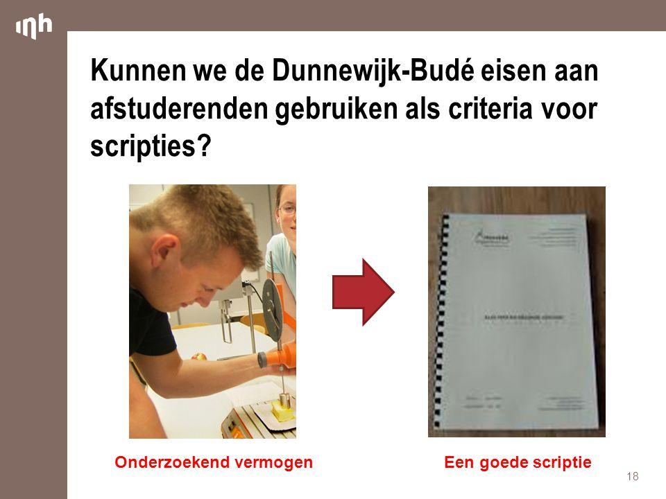 Kunnen we de Dunnewijk-Budé eisen aan afstuderenden gebruiken als criteria voor scripties.
