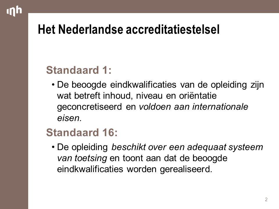Het Nederlandse accreditatiestelsel Standaard 1: •De beoogde eindkwalificaties van de opleiding zijn wat betreft inhoud, niveau en oriëntatie geconcretiseerd en voldoen aan internationale eisen.