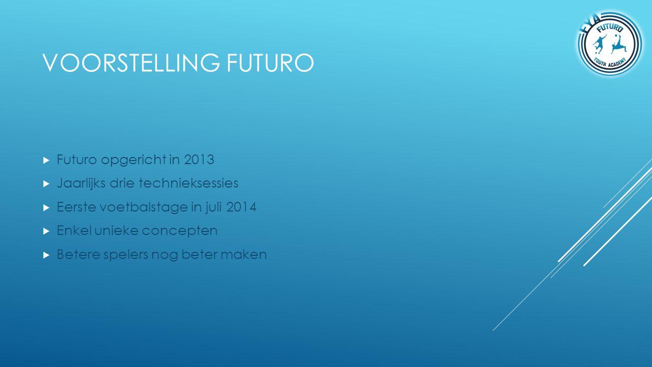 VOORSTELLING FUTURO  Futuro opgericht in 2013  Jaarlijks drie technieksessies  Eerste voetbalstage in juli 2014  Enkel unieke concepten  Betere s