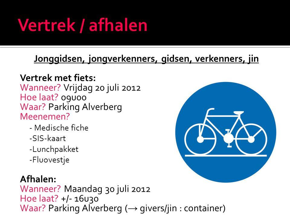 Jonggidsen, jongverkenners, gidsen, verkenners, jin Vertrek met fiets: Wanneer.