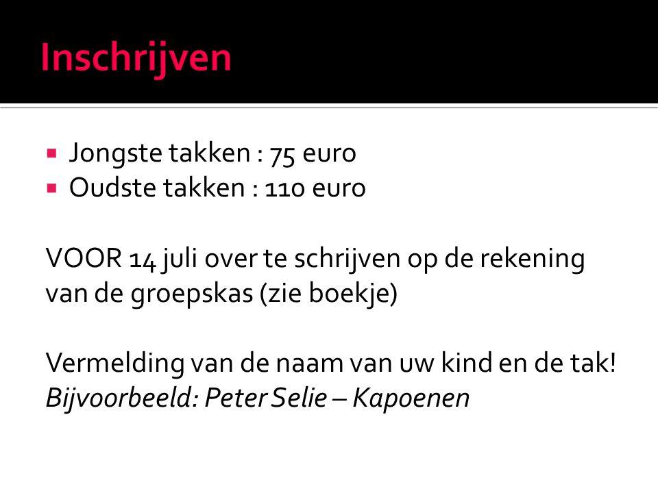  Jongste takken : 75 euro  Oudste takken : 110 euro VOOR 14 juli over te schrijven op de rekening van de groepskas (zie boekje) Vermelding van de naam van uw kind en de tak.