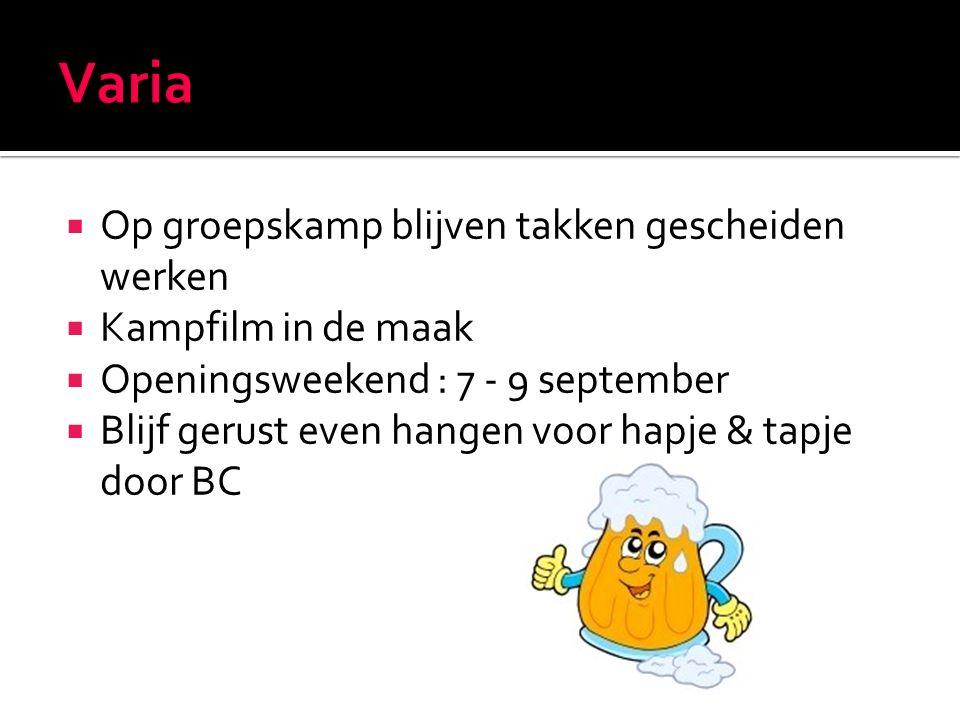  Op groepskamp blijven takken gescheiden werken  Kampfilm in de maak  Openingsweekend : 7 - 9 september  Blijf gerust even hangen voor hapje & tapje door BC