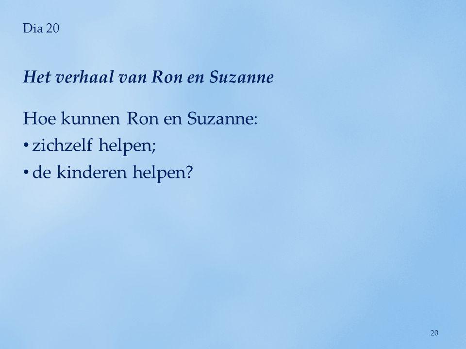 Dia 20 Hoe kunnen Ron en Suzanne: • zichzelf helpen; • de kinderen helpen? Het verhaal van Ron en Suzanne 20