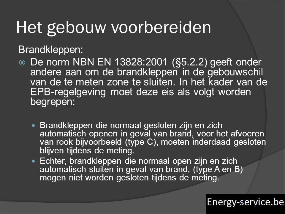 Brandkleppen:  De norm NBN EN 13828:2001 (§5.2.2) geeft onder andere aan om de brandkleppen in de gebouwschil van de te meten zone te sluiten. In het