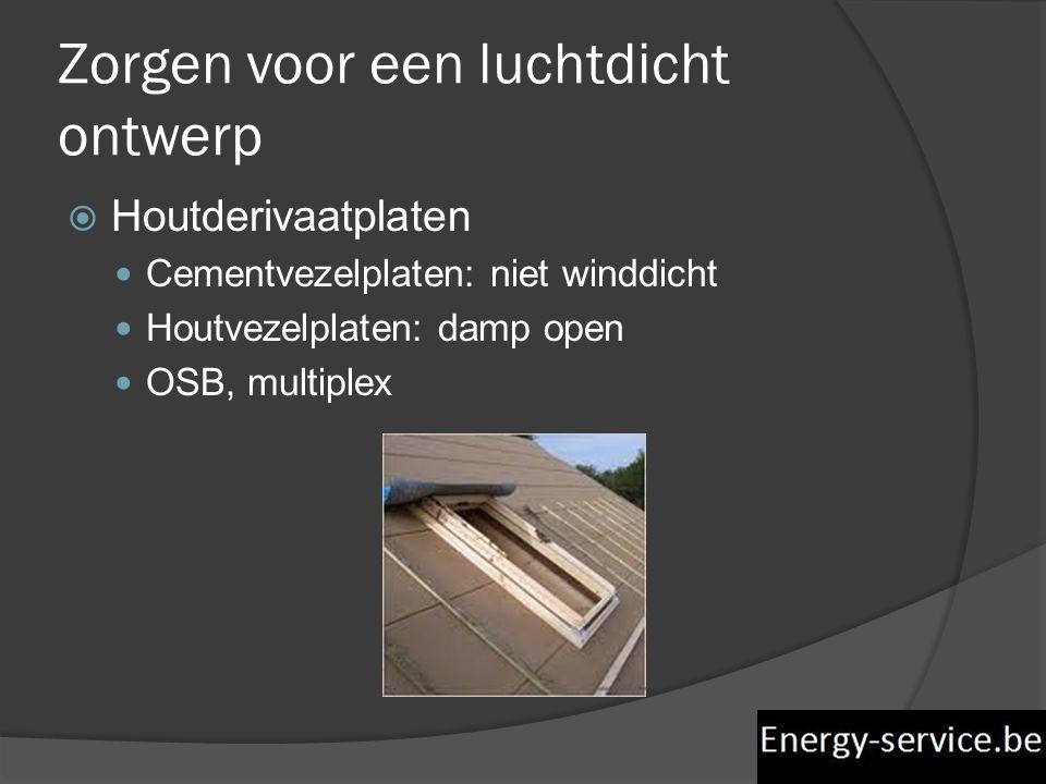 Zorgen voor een luchtdicht ontwerp  Houtderivaatplaten  Cementvezelplaten: niet winddicht  Houtvezelplaten: damp open  OSB, multiplex