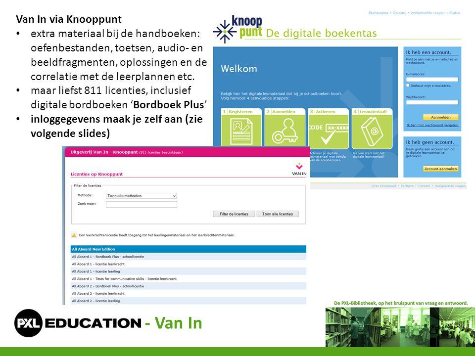 - Van In Van In via Knooppunt • extra materiaal bij de handboeken: oefenbestanden, toetsen, audio- en beeldfragmenten, oplossingen en de correlatie me