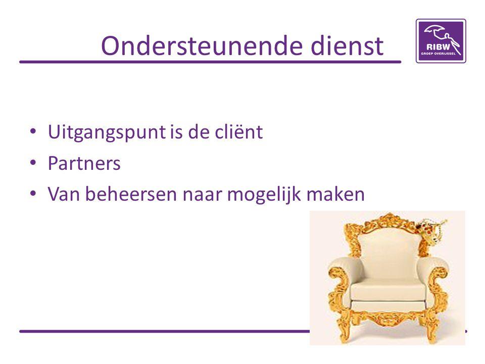 Ondersteunende dienst • Uitgangspunt is de cliënt • Partners • Van beheersen naar mogelijk maken