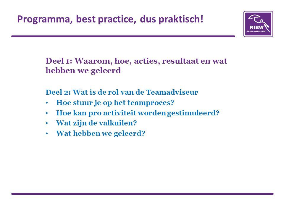Deel 1: Waarom, hoe, acties, resultaat en wat hebben we geleerd Deel 2: Wat is de rol van de Teamadviseur • Hoe stuur je op het teamproces? • Hoe kan