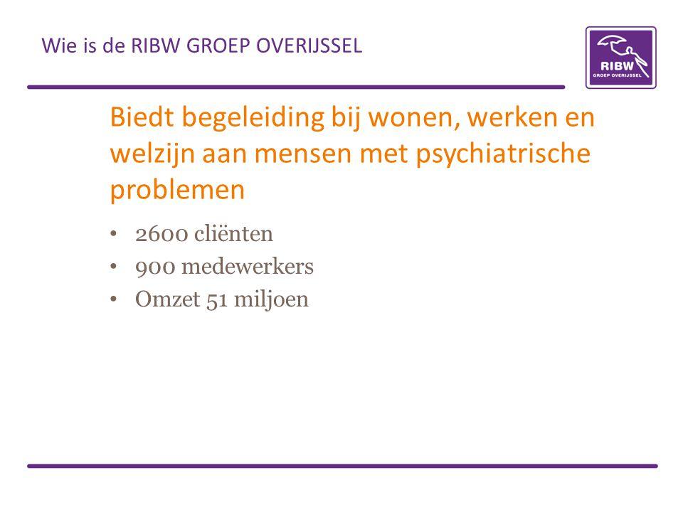 Biedt begeleiding bij wonen, werken en welzijn aan mensen met psychiatrische problemen • 2600 cliënten • 900 medewerkers • Omzet 51 miljoen Wie is de
