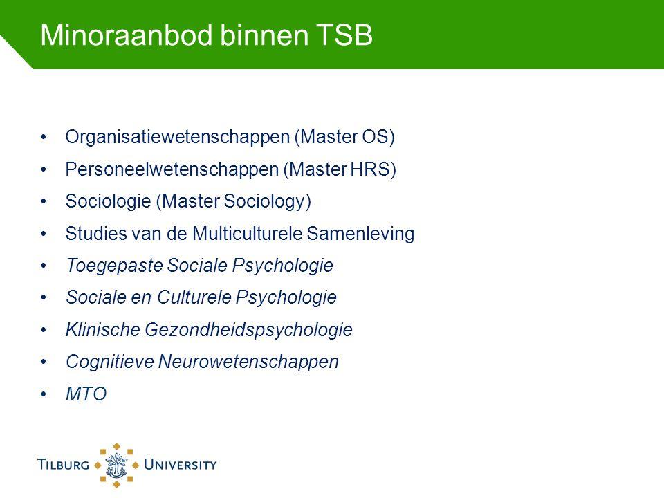 Minoraanbod binnen TSB •Organisatiewetenschappen (Master OS) •Personeelwetenschappen (Master HRS) •Sociologie (Master Sociology) •Studies van de Multi