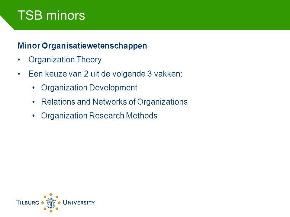 TSB minors Minor Organisatiewetenschappen •Organization Theory •Een keuze van 2 uit de volgende 3 vakken: •Organization Development •Relations and Net