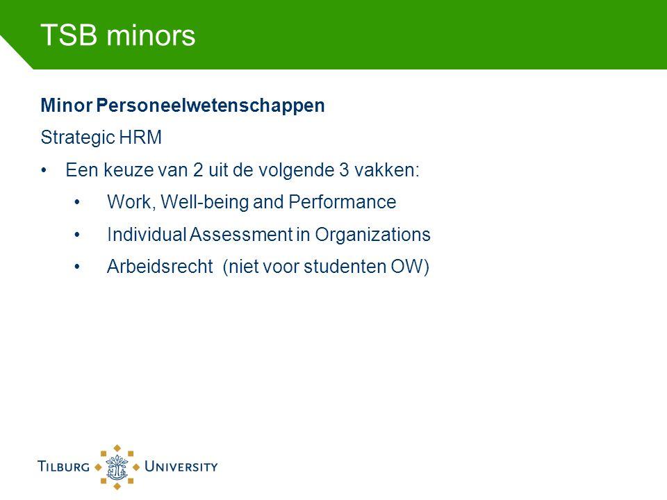 TSB minors Minor Personeelwetenschappen Strategic HRM •Een keuze van 2 uit de volgende 3 vakken: •Work, Well-being and Performance •Individual Assessm