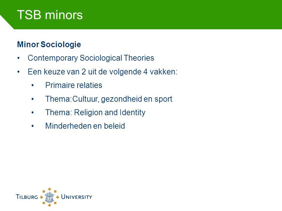 TSB minors Minor Sociologie •Contemporary Sociological Theories •Een keuze van 2 uit de volgende 4 vakken: •Primaire relaties •Thema:Cultuur, gezondhe