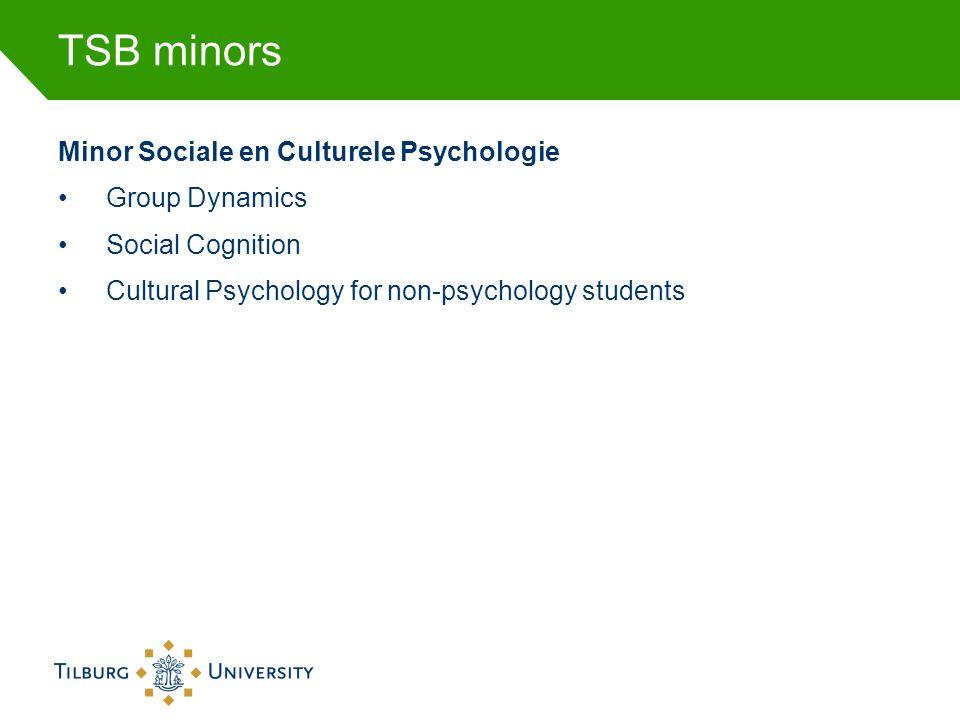 TSB minors Minor Sociale en Culturele Psychologie •Group Dynamics •Social Cognition •Cultural Psychology for non-psychology students
