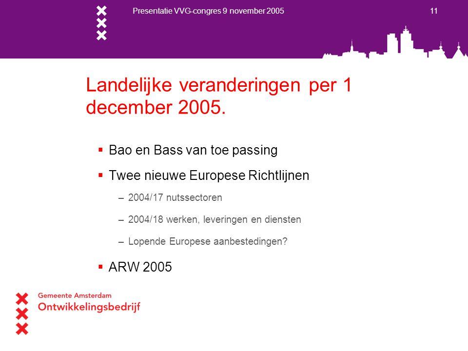Presentatie VVG-congres 9 november 2005 11 Landelijke veranderingen per 1 december 2005.  Bao en Bass van toe passing  Twee nieuwe Europese Richtlij