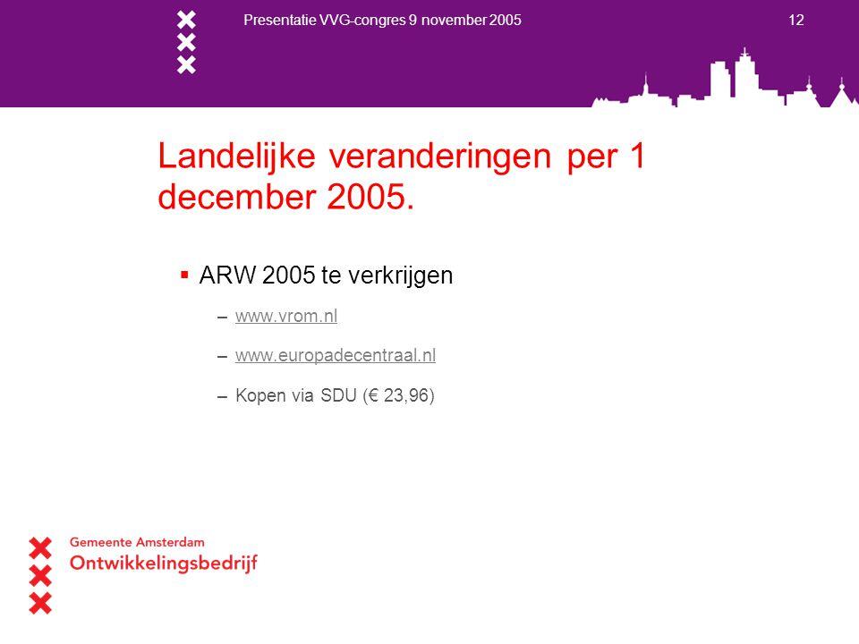 Presentatie VVG-congres 9 november 2005 12 Landelijke veranderingen per 1 december 2005.  ARW 2005 te verkrijgen –www.vrom.nlwww.vrom.nl –www.europad