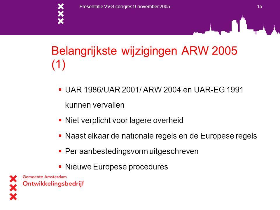Presentatie VVG-congres 9 november 2005 15 Belangrijkste wijzigingen ARW 2005 (1)  UAR 1986/UAR 2001/ ARW 2004 en UAR-EG 1991 kunnen vervallen  Niet
