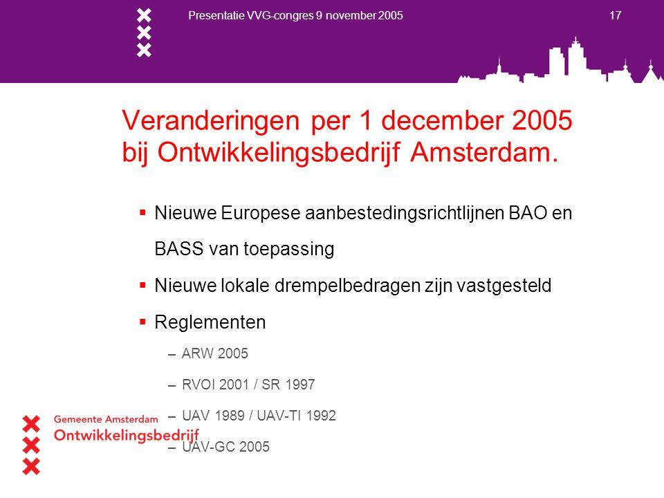 Presentatie VVG-congres 9 november 2005 17 Veranderingen per 1 december 2005 bij Ontwikkelingsbedrijf Amsterdam.  Nieuwe Europese aanbestedingsrichtl