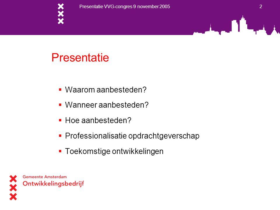 Presentatie VVG-congres 9 november 2005 2 Presentatie  Waarom aanbesteden?  Wanneer aanbesteden?  Hoe aanbesteden?  Professionalisatie opdrachtgev