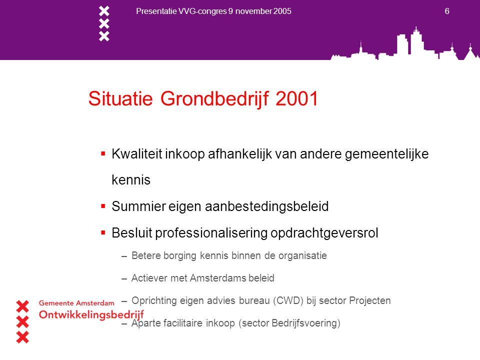 Presentatie VVG-congres 9 november 2005 6 Situatie Grondbedrijf 2001  Kwaliteit inkoop afhankelijk van andere gemeentelijke kennis  Summier eigen aa
