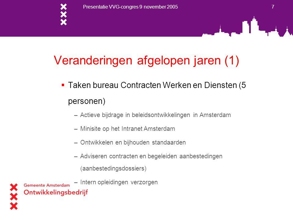 Presentatie VVG-congres 9 november 2005 8 Veranderingen afgelopen jaren (2)  Netwerk –Binnen Amsterdam –G4 overleg –RWS –PIANO / Europadecentraal  Inkoopbureau op Stadhuis (facilitair)