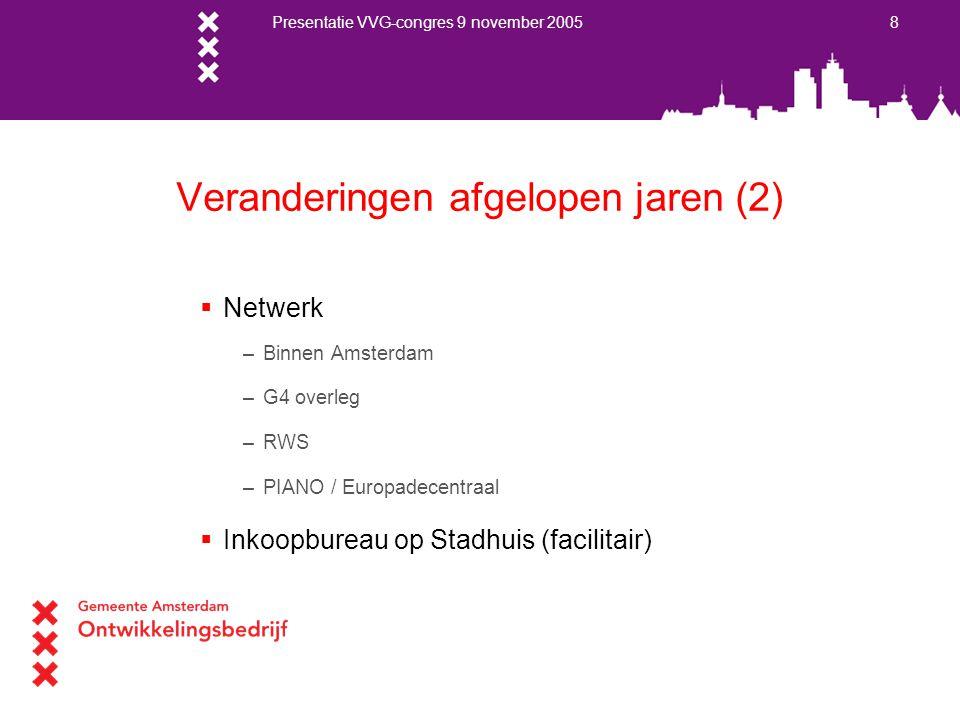 Presentatie VVG-congres 9 november 2005 8 Veranderingen afgelopen jaren (2)  Netwerk –Binnen Amsterdam –G4 overleg –RWS –PIANO / Europadecentraal  I