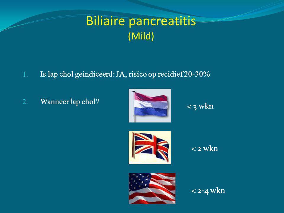 Timing van cholecystectomie na milde biliaire pancreatitis •PROPATRIA cohort (3 jaar, 15 ziekenhuizen) •Primaire eindpunt: heropnames voor biliaire klachten •Recidief pancreatitis •Acute cholecystitis •Biliaire koliek Bakker et al, 2009