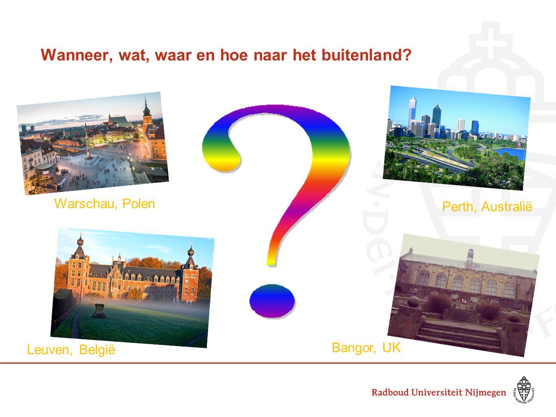 Wanneer, wat, waar en hoe naar het buitenland? Perth, Australië Bangor, UK Leuven, België Warschau, Polen