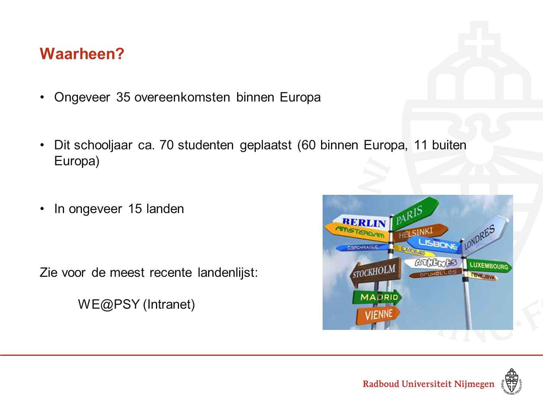 Waarheen? •Ongeveer 35 overeenkomsten binnen Europa •Dit schooljaar ca. 70 studenten geplaatst (60 binnen Europa, 11 buiten Europa) •In ongeveer 15 la