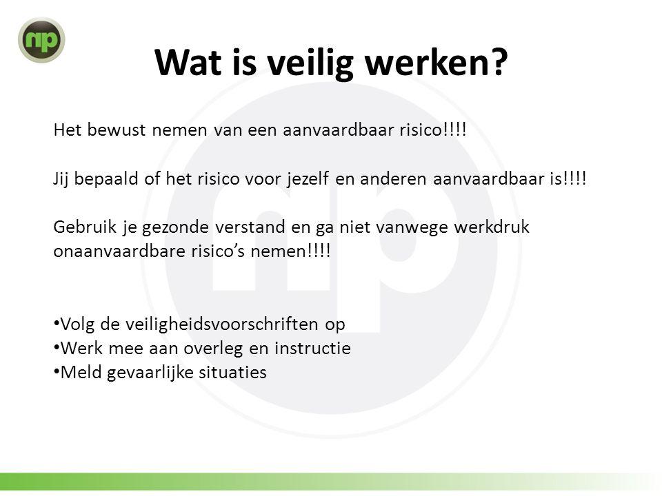 Wat is veilig werken? Het bewust nemen van een aanvaardbaar risico!!!! Jij bepaald of het risico voor jezelf en anderen aanvaardbaar is!!!! Gebruik je