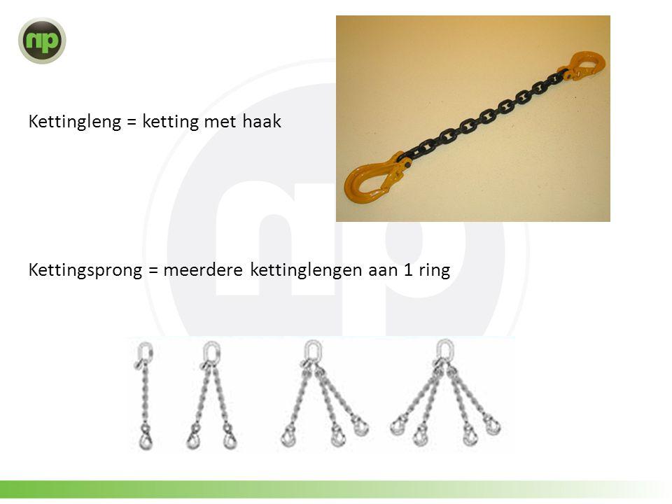 Kettingleng = ketting met haak Kettingsprong = meerdere kettinglengen aan 1 ring