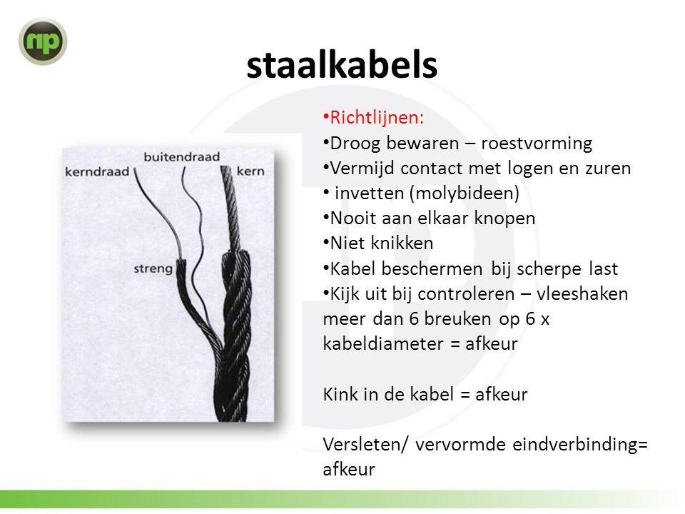staalkabels • Richtlijnen: • Droog bewaren – roestvorming • Vermijd contact met logen en zuren • invetten (molybideen) • Nooit aan elkaar knopen • Nie