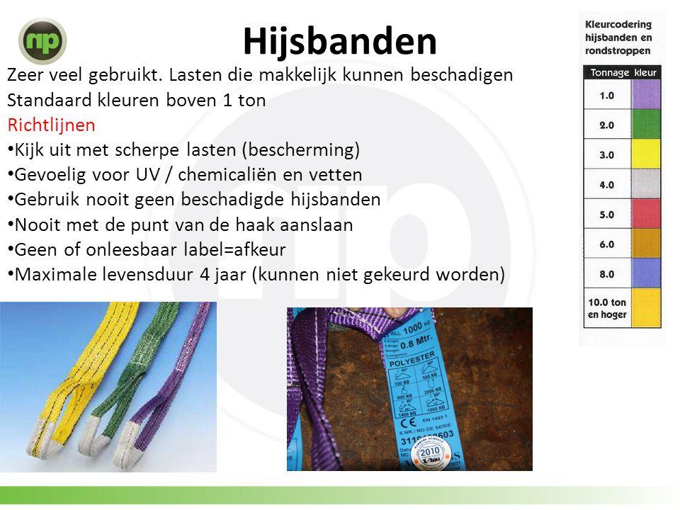 Hijsbanden Zeer veel gebruikt. Lasten die makkelijk kunnen beschadigen Standaard kleuren boven 1 ton Richtlijnen • Kijk uit met scherpe lasten (besche