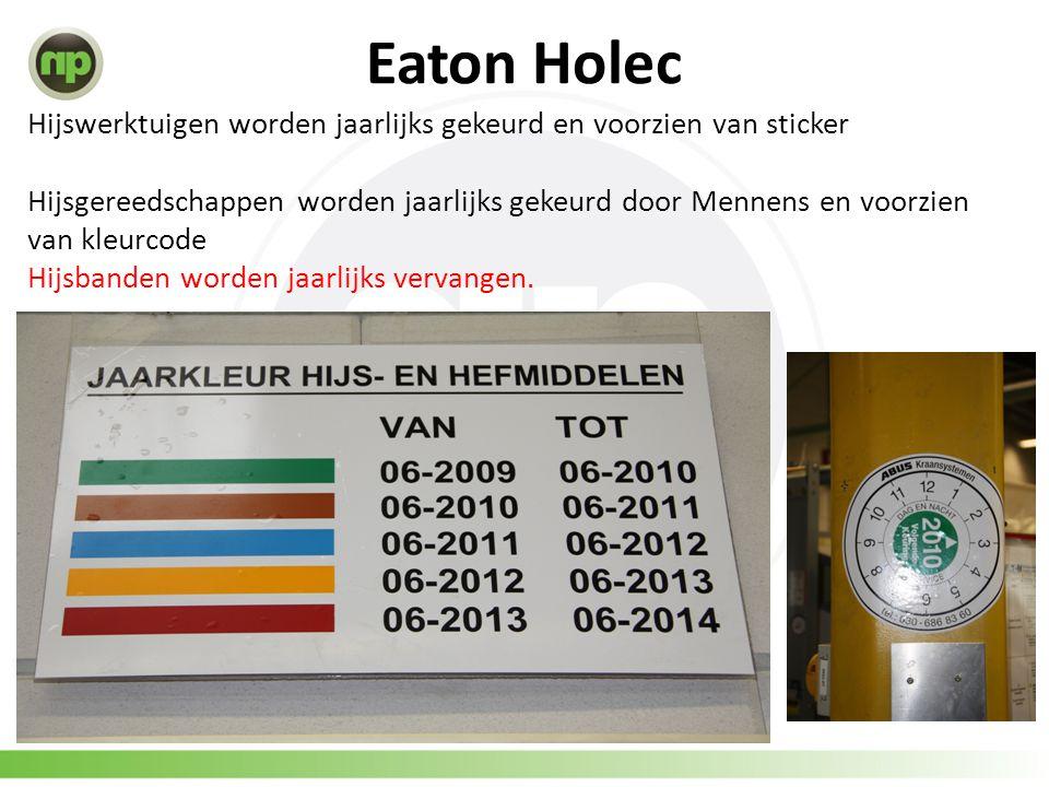 Eaton Holec Hijswerktuigen worden jaarlijks gekeurd en voorzien van sticker Hijsgereedschappen worden jaarlijks gekeurd door Mennens en voorzien van kleurcode Hijsbanden worden jaarlijks vervangen.