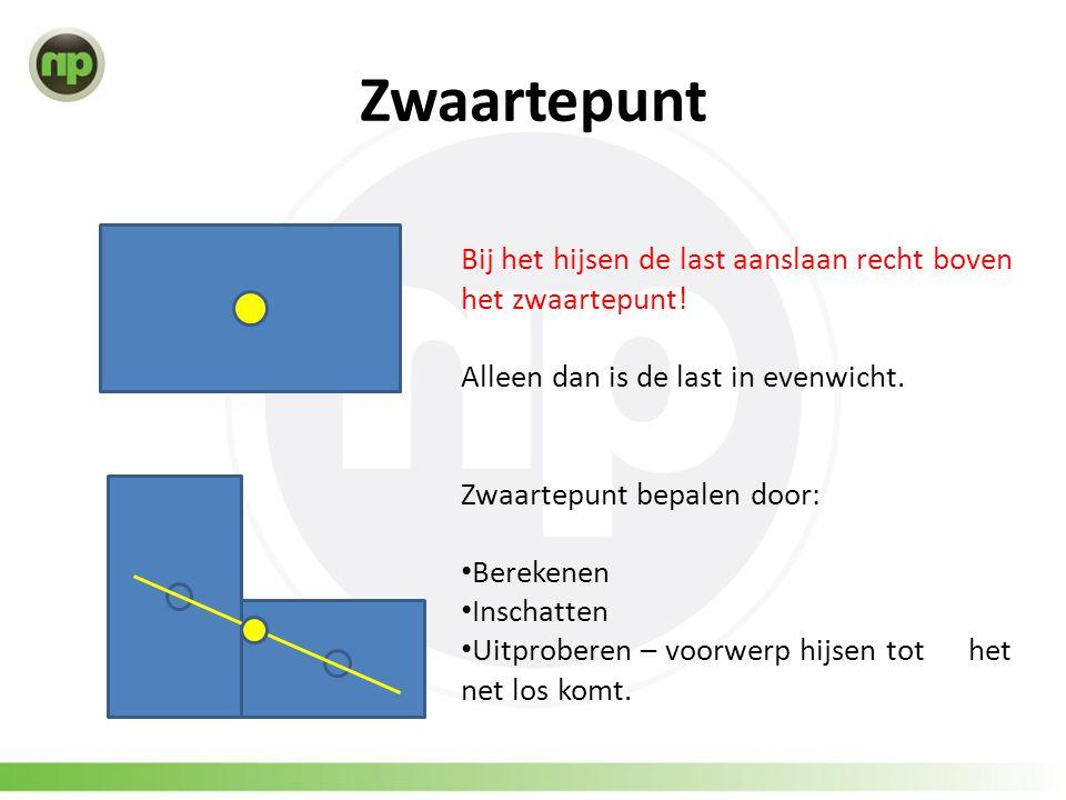 Zwaartepunt Bij het hijsen de last aanslaan recht boven het zwaartepunt! Alleen dan is de last in evenwicht. Zwaartepunt bepalen door: • Berekenen • I