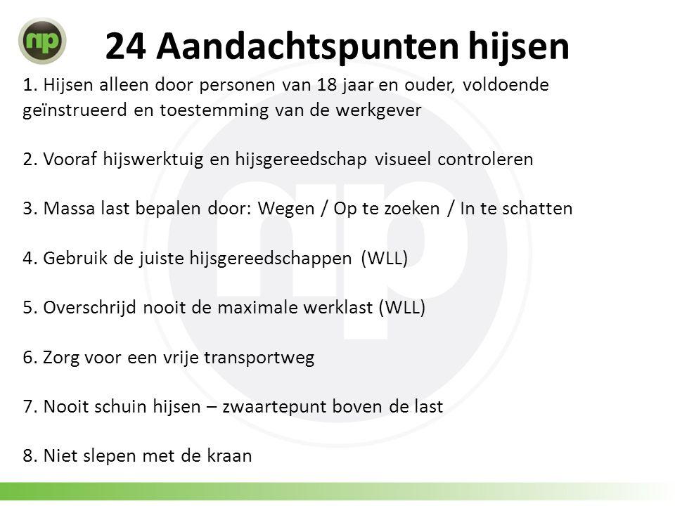 24 Aandachtspunten hijsen 1. Hijsen alleen door personen van 18 jaar en ouder, voldoende geïnstrueerd en toestemming van de werkgever 2. Vooraf hijswe