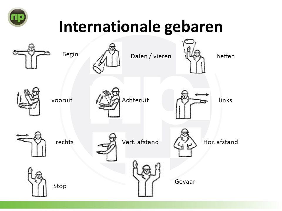 Internationale gebaren Begin Dalen / vierenheffen vooruitAchteruitlinks rechtsVert. afstandHor. afstand Stop Gevaar
